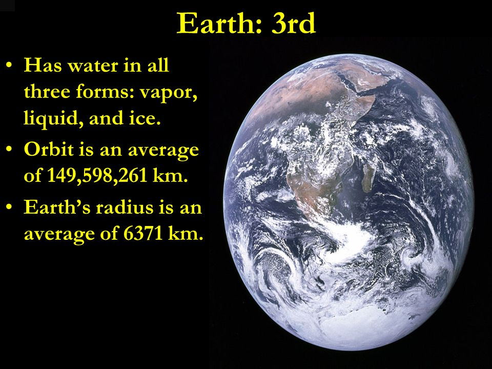 Earth: 3rd Has water in all three forms: vapor, liquid, and ice.
