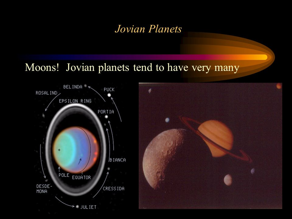 Jovian Planets Moons! Jovian planets tend to have very many