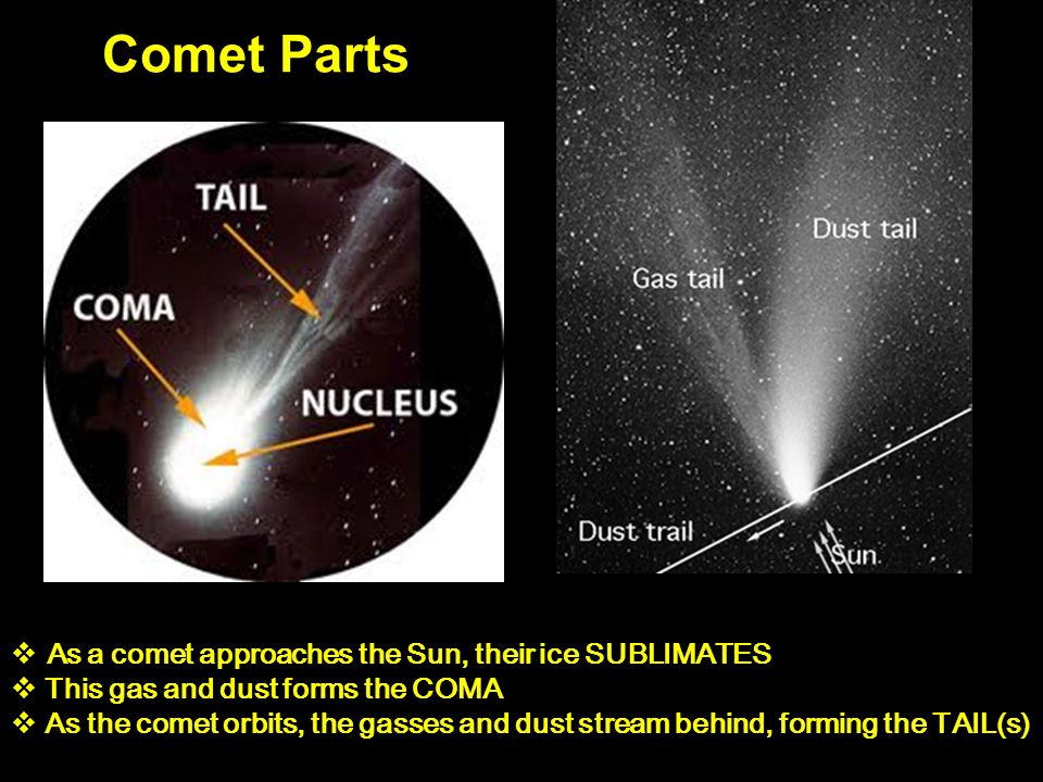 Comet Parts  As a comet approaches the Sun, their ice SUBLIMATES  This gas and dust forms the COMA  As the comet orbits, the gasses and dust stream behind, forming the TAIL(s)