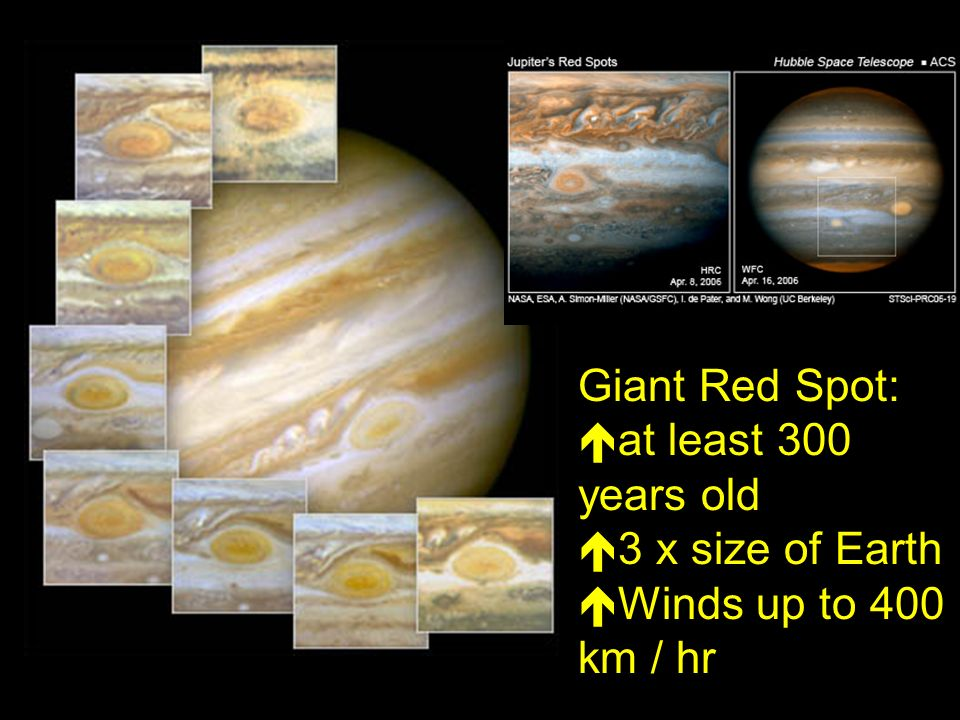 Giant Red Spot:  at least 300 years old  3 x size of Earth  Winds up to 400 km / hr