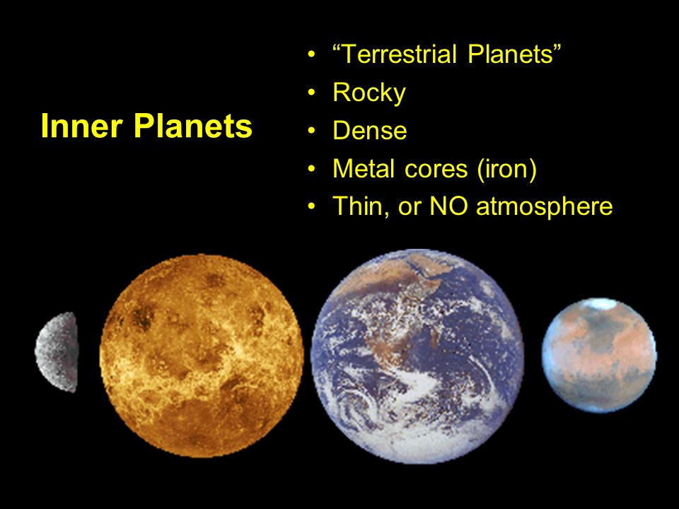Inner Planets Terrestrial Planets Rocky Dense Metal cores (iron) Thin, or NO atmosphere