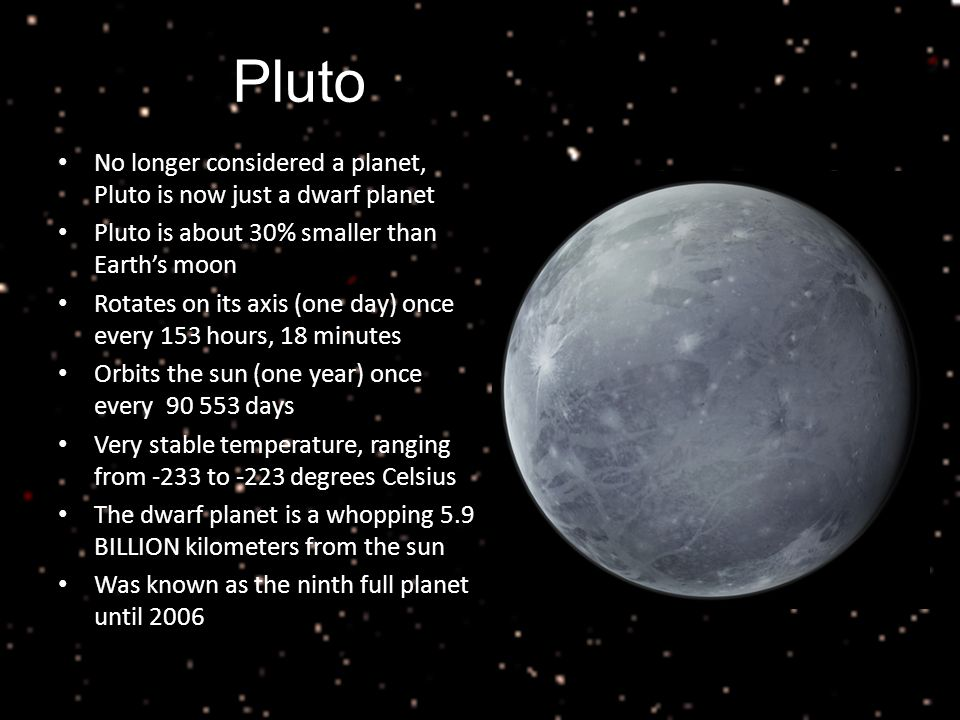 Pluto No longer considered a planet, Pluto is now just a dwarf planet Pluto is about 30% smaller than Earth's moon Rotates on its axis (one day) once every 153 hours, 18 minutes Orbits the sun (one year) once every days Very stable temperature, ranging from -233 to -223 degrees Celsius The dwarf planet is a whopping 5.9 BILLION kilometers from the sun Was known as the ninth full planet until 2006