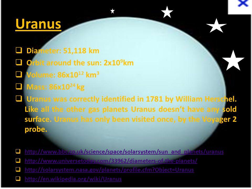 Uranus  Diameter: 51,118 km  Orbit around the sun: 2x10 9 km  Volume: 86x10 12 km 3  Mass: 86x10 24 kg  Uranus was correctly identified in 1781 b