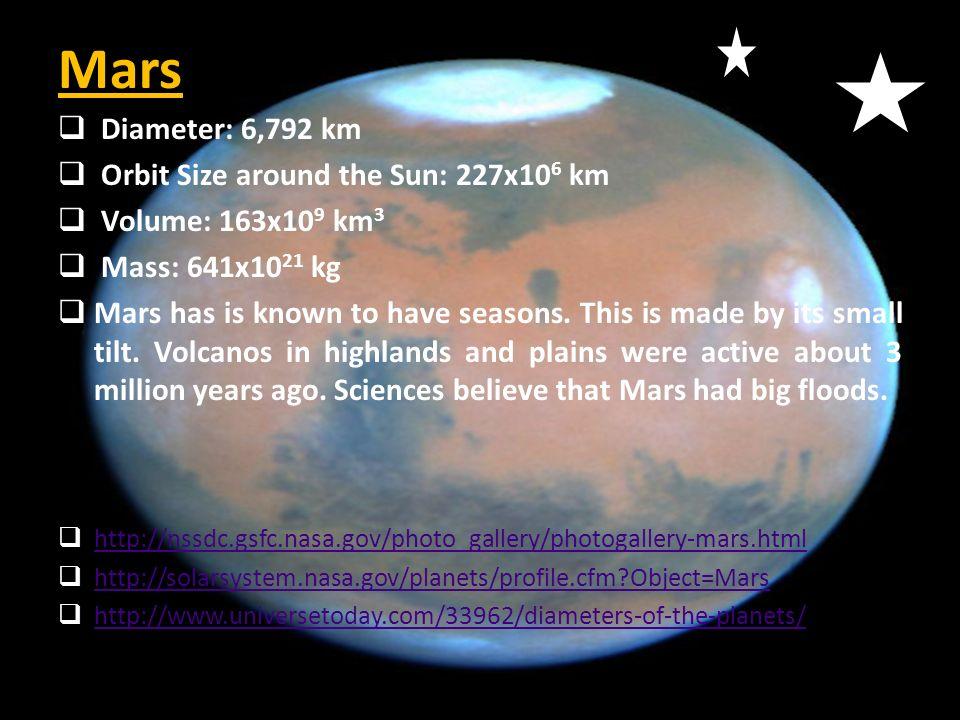 Mars  Diameter: 6,792 km  Orbit Size around the Sun: 227x10 6 km  Volume: 163x10 9 km 3  Mass: 641x10 21 kg  Mars has is known to have seasons. T