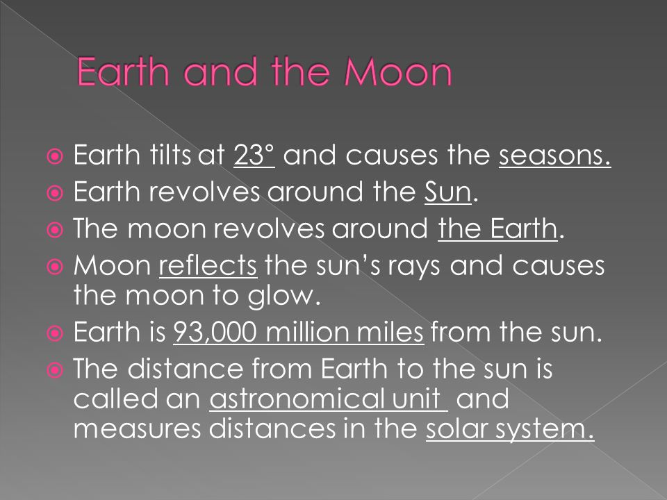 Earth tilts at 23 ° and causes the seasons.  Earth revolves around the Sun.