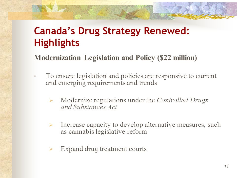 11 Canada's Drug Strategy Renewed: Highlights Modernization Legislation and Policy ($22 million) To ensure legislation and policies are responsive to current and emerging requirements and trends  Modernize regulations under the Controlled Drugs and Substances Act  Increase capacity to develop alternative measures, such as cannabis legislative reform  Expand drug treatment courts