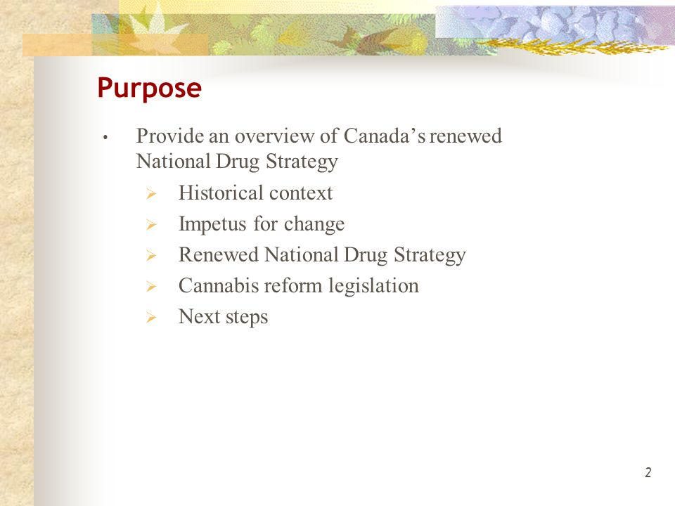 2 Purpose Provide an overview of Canada's renewed National Drug Strategy  Historical context  Impetus for change  Renewed National Drug Strategy  Cannabis reform legislation  Next steps