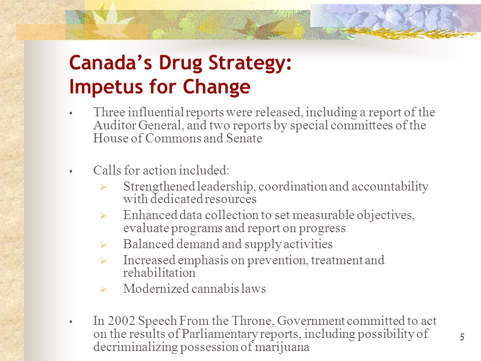 5 Canada's Drug Strategy: Impetus for Change Three influential reports were released, including a report of the Auditor General, and two reports by special committees of the House of Commons and Senate Calls for action included:  Strengthened leadership, coordination and accountability with dedicated resources  Enhanced data collection to set measurable objectives, evaluate programs and report on progress  Balanced demand and supply activities  Increased emphasis on prevention, treatment and rehabilitation  Modernized cannabis laws In 2002 Speech From the Throne, Government committed to act on the results of Parliamentary reports, including possibility of decriminalizing possession of marijuana