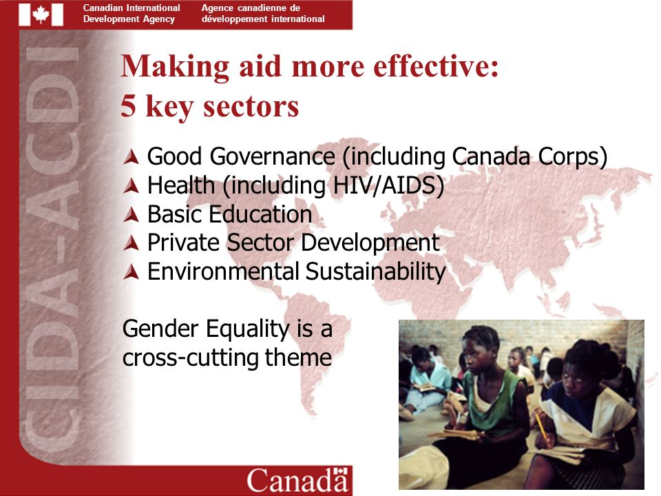 Canadian International Development Agency Agence canadienne de développement international Making aid more effective: 5 key sectors Good Governance (including Canada Corps) Health (including HIV/AIDS) Basic Education Private Sector Development Environmental Sustainability Gender Equality is a cross-cutting theme