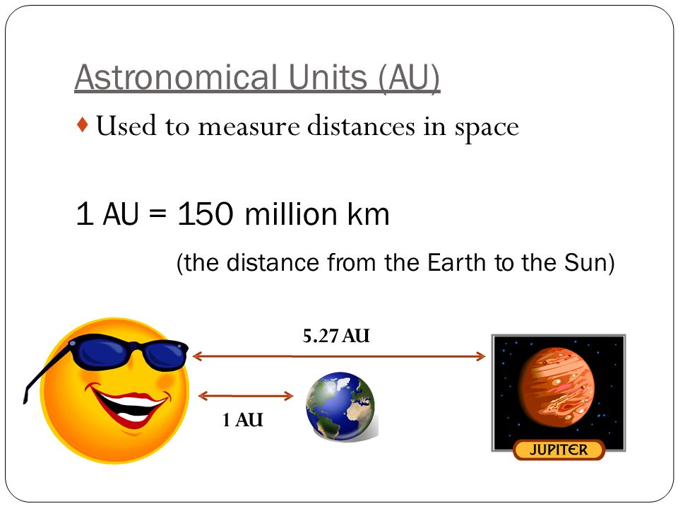 Astronomical Units (AU)  Used to measure distances in space 1 AU = 150 million km (the distance from the Earth to the Sun) 5.27 AU 1 AU