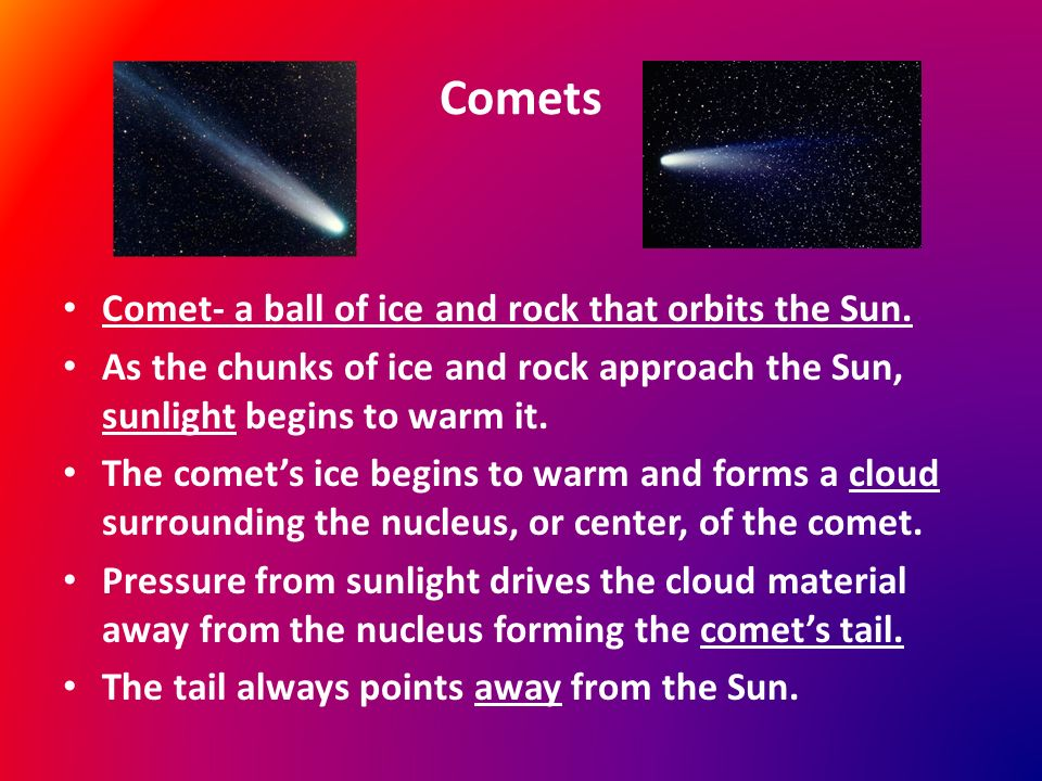 Comets Comet- a ball of ice and rock that orbits the Sun.