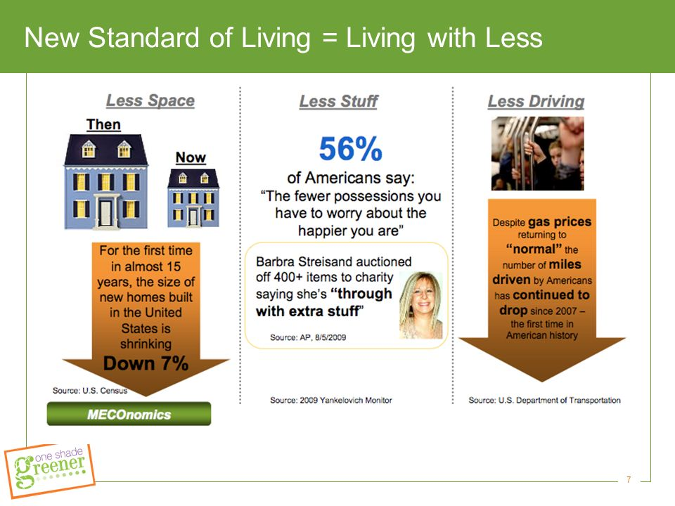 7 New Standard of Living = Living with Less