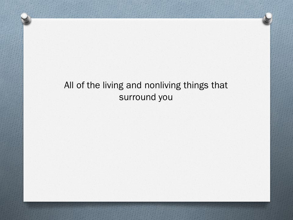 All of the living and nonliving things that surround you
