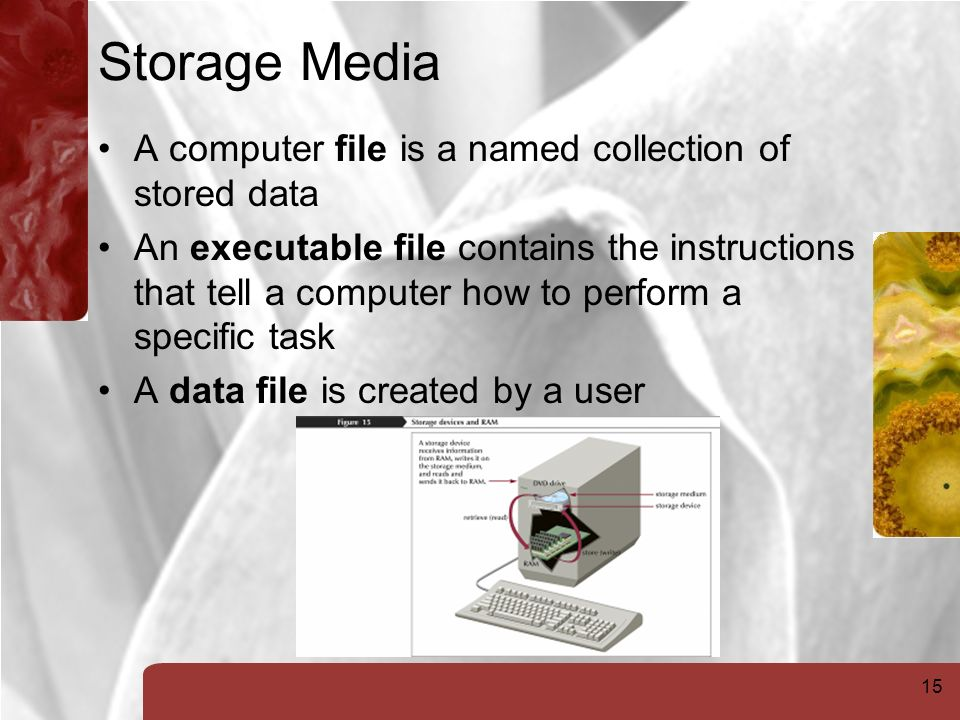 15 Storage Media A computer file is a named collection of stored data An executable file contains the instructions that tell a computer how to perform a specific task A data file is created by a user