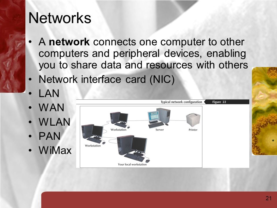 21 Networks A network connects one computer to other computers and peripheral devices, enabling you to share data and resources with others Network interface card (NIC) LAN WAN WLAN PAN WiMax