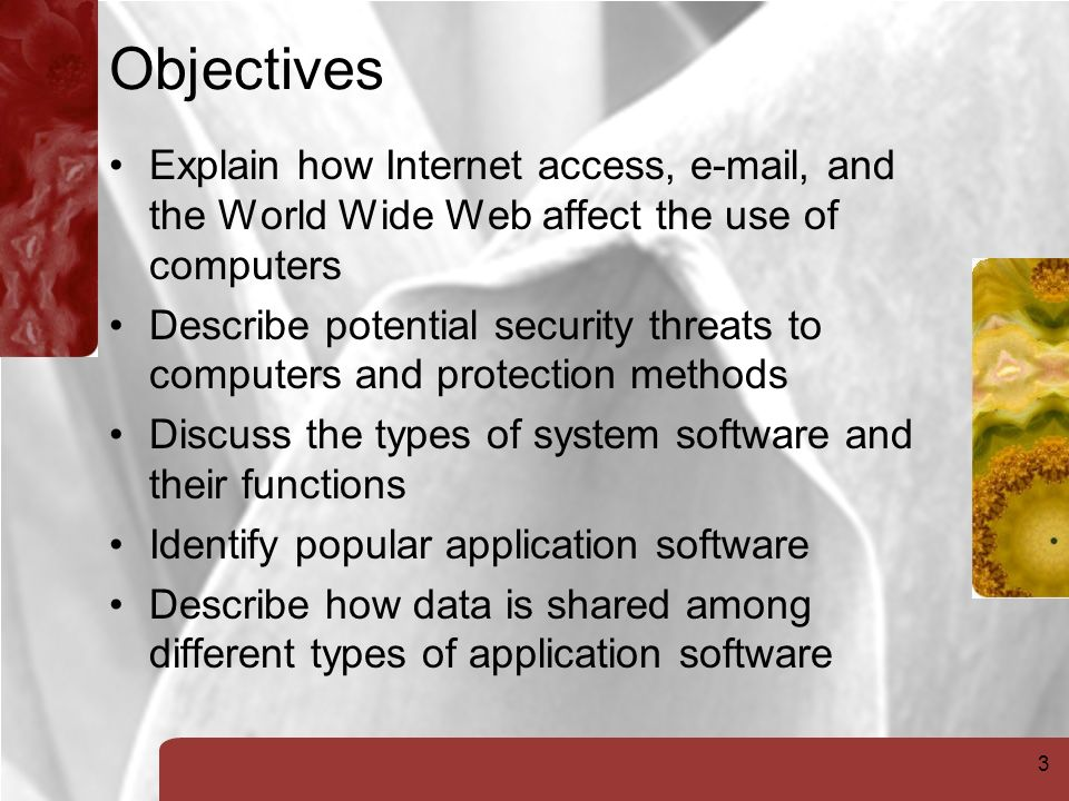 3 Objectives Explain how Internet access,  , and the World Wide Web affect the use of computers Describe potential security threats to computers and protection methods Discuss the types of system software and their functions Identify popular application software Describe how data is shared among different types of application software