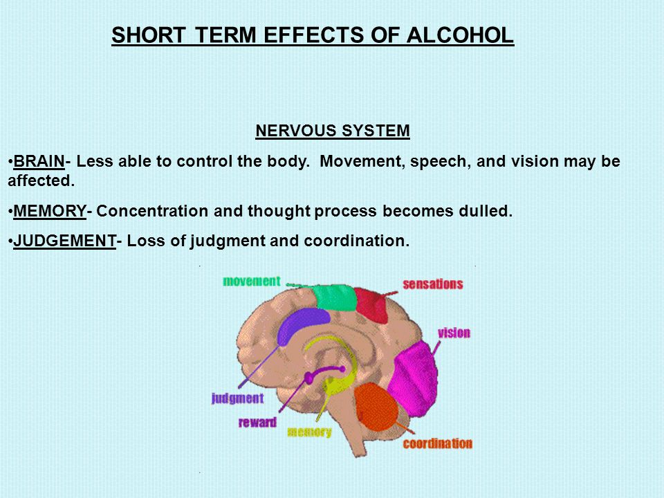 SHORT TERM EFFECTS OF ALCOHOL NERVOUS SYSTEM BRAIN- Less able to control the body.