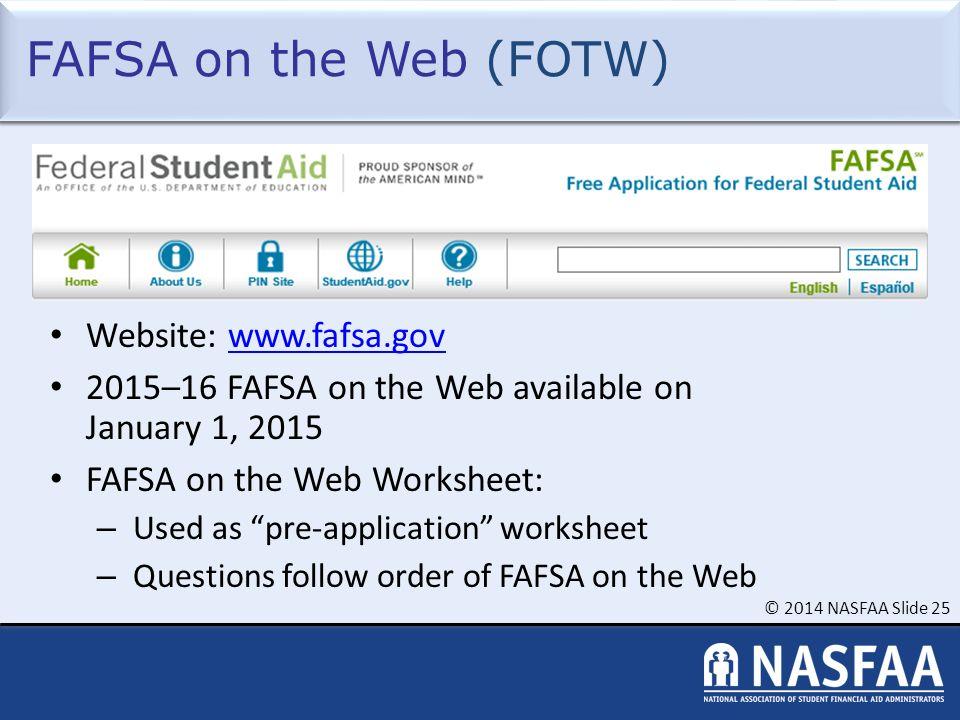 Fafsa On The Web Worksheet 2016 - Worksheets