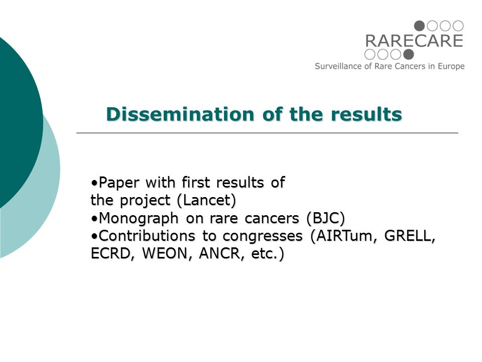 Paper with first results ofPaper with first results of the project (Lancet) Monograph on rare cancers (BJC)Monograph on rare cancers (BJC) Contributions to congresses (AIRTum, GRELL, ECRD, WEON, ANCR, etc.)Contributions to congresses (AIRTum, GRELL, ECRD, WEON, ANCR, etc.) Dissemination of the results
