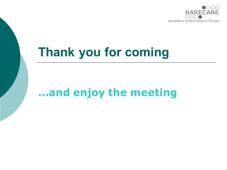 Thank you for coming …and enjoy the meeting