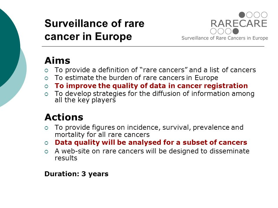 Aims  To provide a definition of rare cancers and a list of cancers  To estimate the burden of rare cancers in Europe  To improve the quality of data in cancer registration  To develop strategies for the diffusion of information among all the key players Actions  To provide figures on incidence, survival, prevalence and mortality for all rare cancers  Data quality will be analysed for a subset of cancers  A web-site on rare cancers will be designed to disseminate results Duration: 3 years Surveillance of rare cancer in Europe