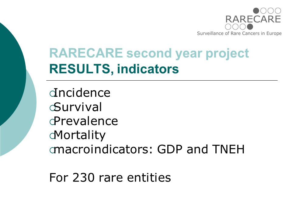 RARECARE second year project RESULTS, indicators  Incidence  Survival  Prevalence  Mortality  macroindicators: GDP and TNEH For 230 rare entities