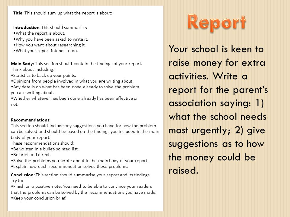 How to write a report about...?