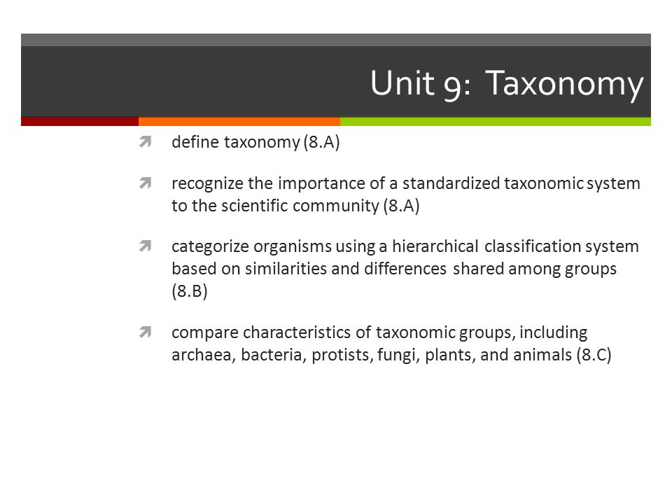 Unit 9: Taxonomy  define taxonomy (8.A)  recognize the importance of a standardized taxonomic system to the scientific community (8.A)  categorize organisms using a hierarchical classification system based on similarities and differences shared among groups (8.B)  compare characteristics of taxonomic groups, including archaea, bacteria, protists, fungi, plants, and animals (8.C)