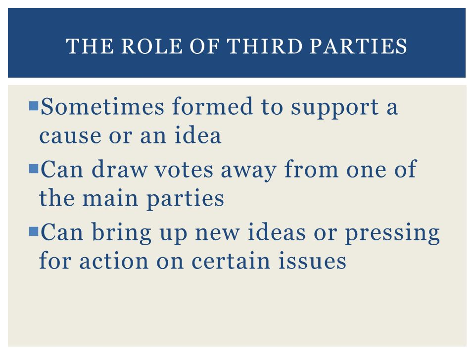  Sometimes formed to support a cause or an idea  Can draw votes away from one of the main parties  Can bring up new ideas or pressing for action on certain issues THE ROLE OF THIRD PARTIES