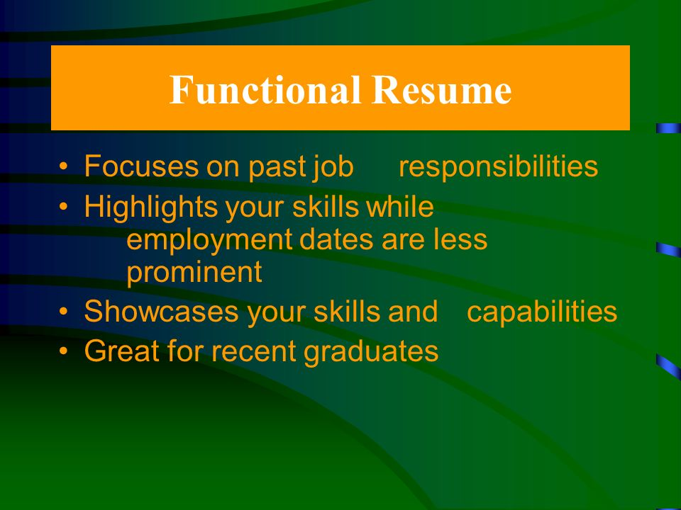 Chronological Resume Most common resume style Demonstrates a consistent employment record Showcases your work experience Demonstrates upward mobility in your employment history