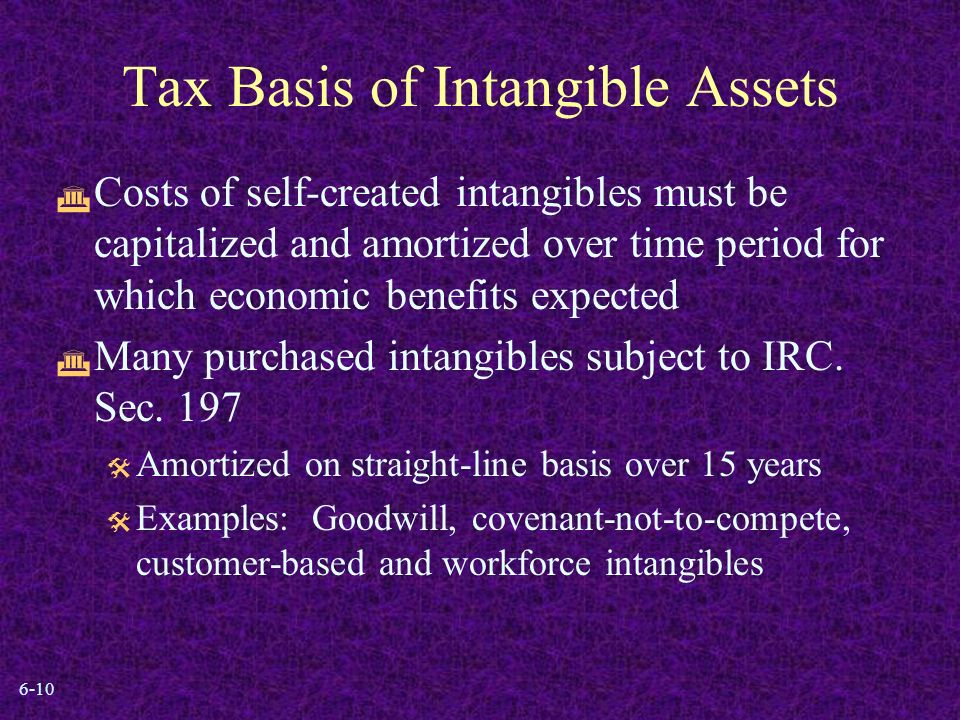 6-10 Tax Basis of Intangible Assets  Costs of self-created intangibles must be capitalized and amortized over time period for which economic benefits expected  Many purchased intangibles subject to IRC.