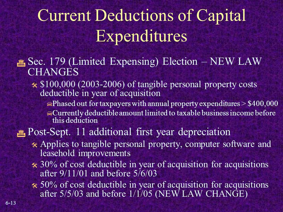 6-13 Current Deductions of Capital Expenditures  Sec.