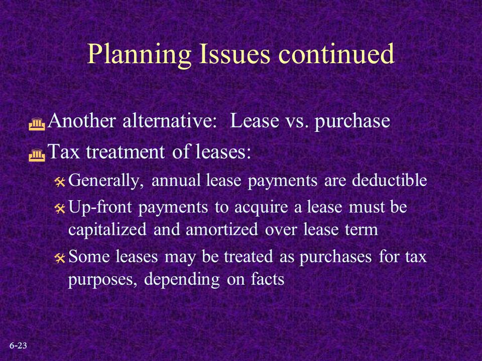 6-23 Planning Issues continued  Another alternative: Lease vs.