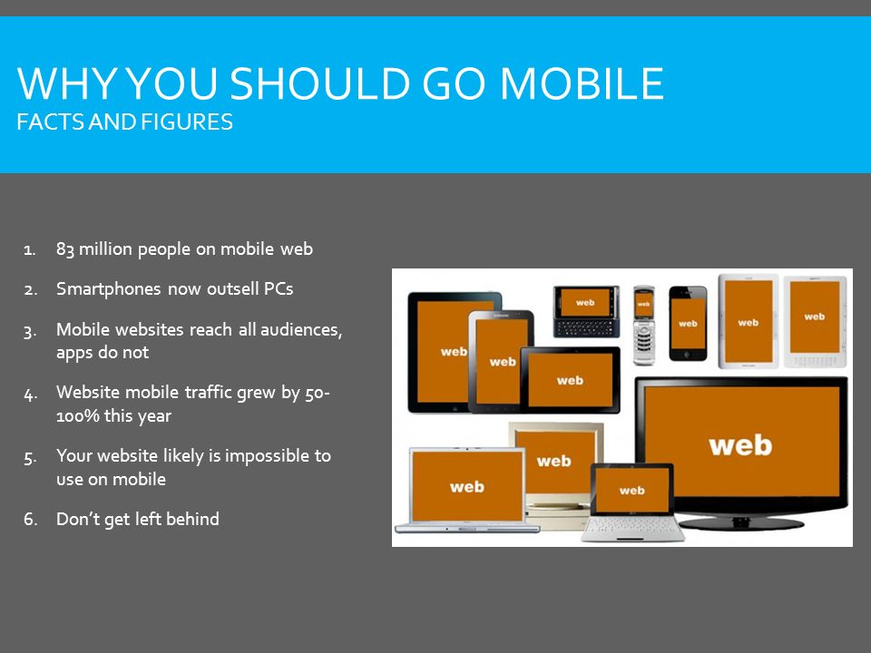WHY YOU SHOULD GO MOBILE FACTS AND FIGURES 1.83 million people on mobile web 2.Smartphones now outsell PCs 3.Mobile websites reach all audiences, apps do not 4.Website mobile traffic grew by 50- 100% this year 5.Your website likely is impossible to use on mobile 6.Don't get left behind