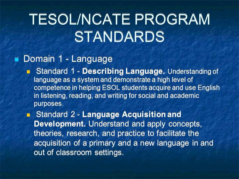 TESOL/NCATE PROGRAM STANDARDS Domain 1 - Language Standard 1 - Describing Language.