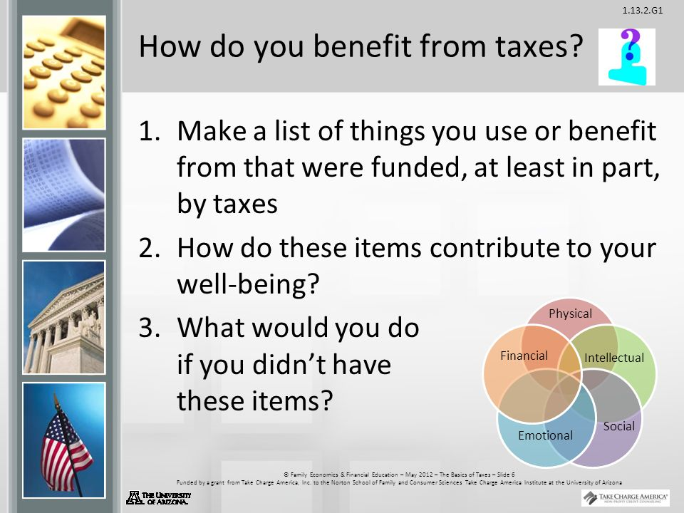 G1 © Family Economics & Financial Education – May 2012 – The Basics of Taxes – Slide 6 Funded by a grant from Take Charge America, Inc.