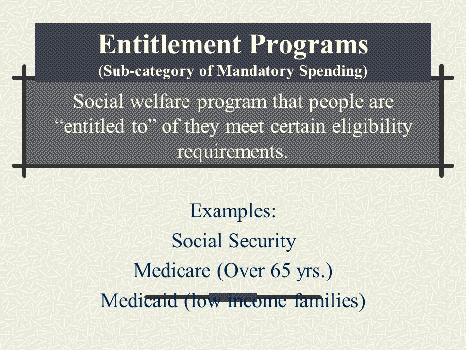 Entitlement Programs (Sub-category of Mandatory Spending) Social welfare program that people are entitled to of they meet certain eligibility requirements.