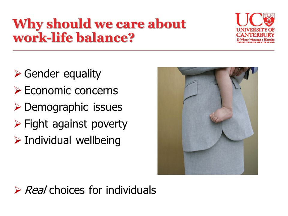  Gender equality  Economic concerns  Demographic issues  Fight against poverty  Individual wellbeing  Real choices for individuals Why should we care about work-life balance