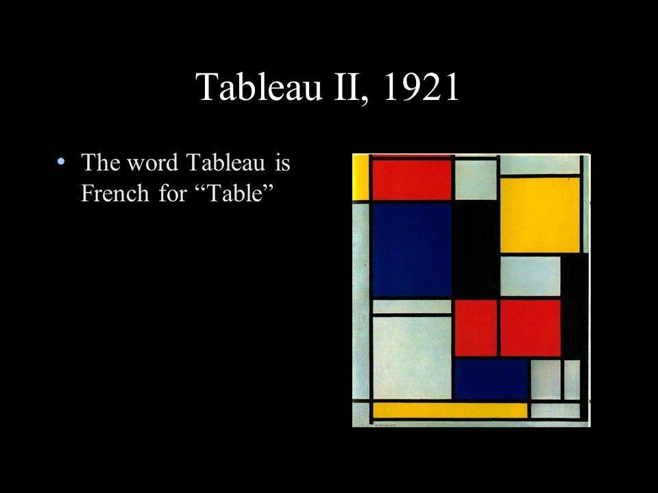 Tableau II, 1921 The word Tableau is French for Table