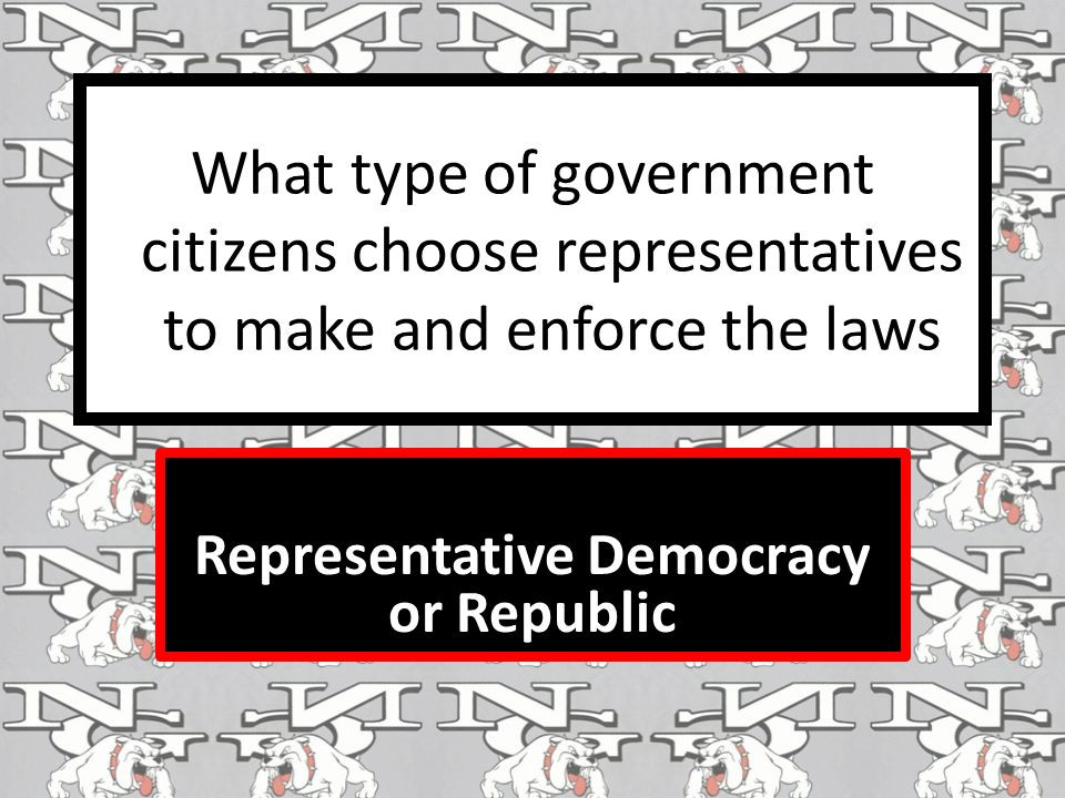 What type of government citizens choose representatives to make and enforce the laws Representative Democracy or Republic