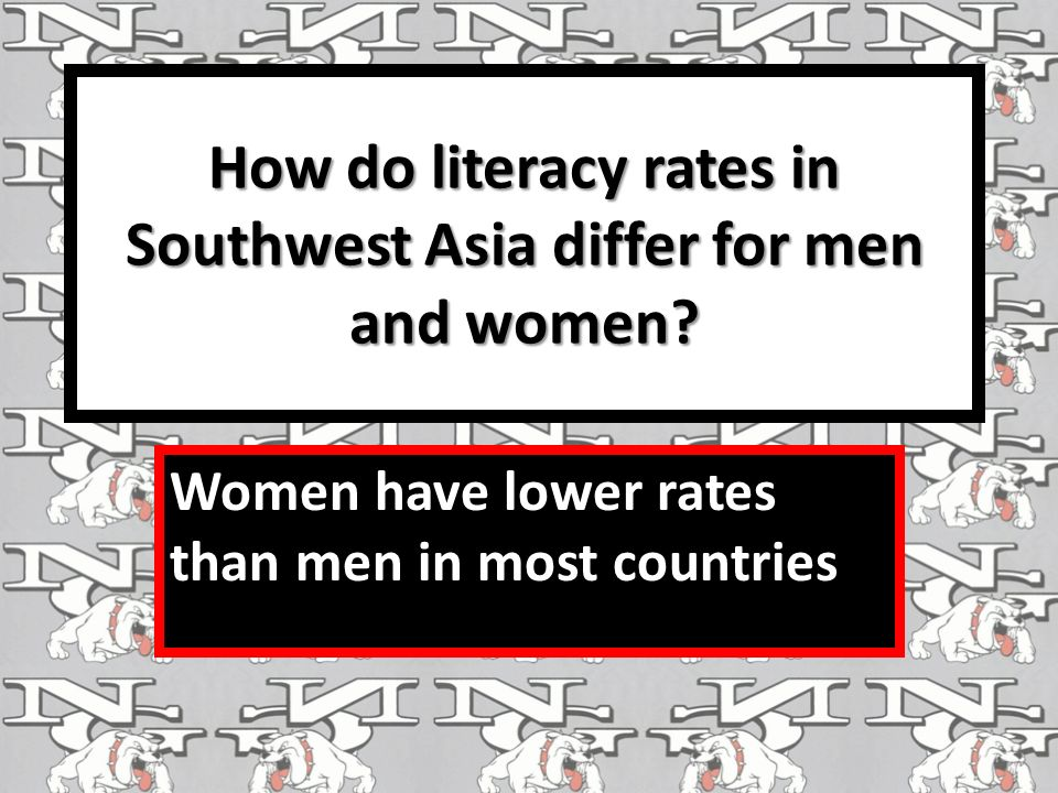 How do literacy rates in Southwest Asia differ for men and women.