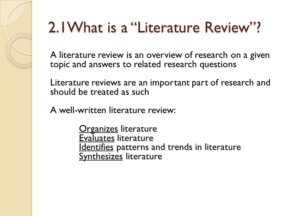 What literature review in research