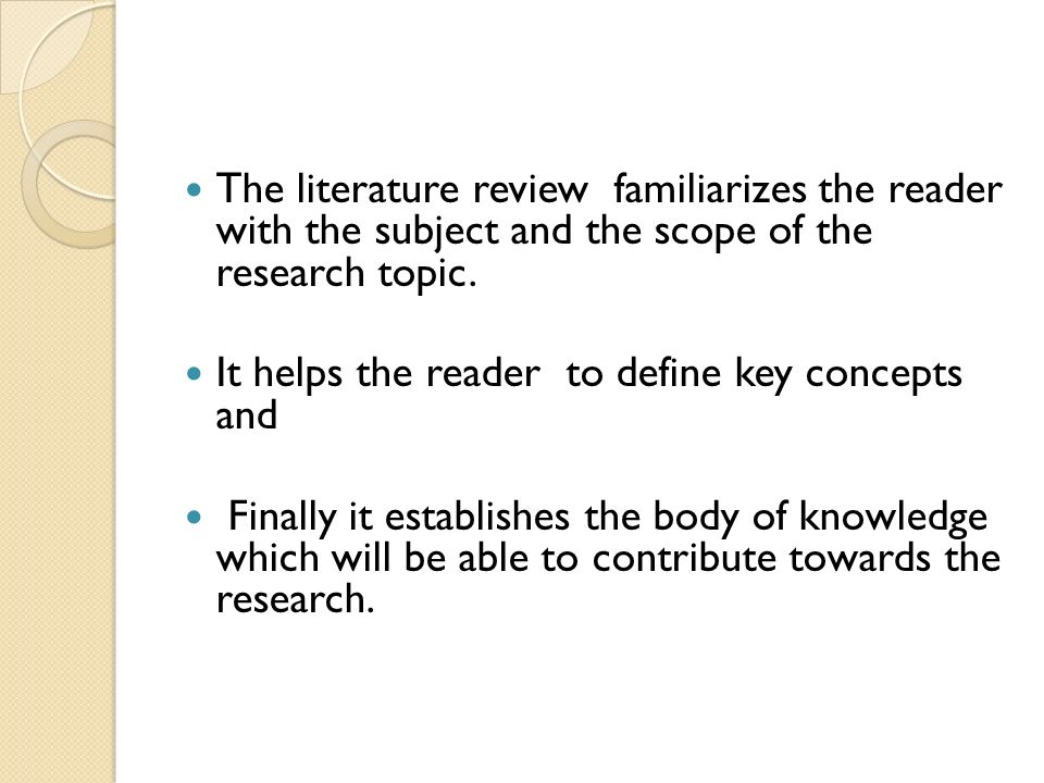 Purpose of literature review in research