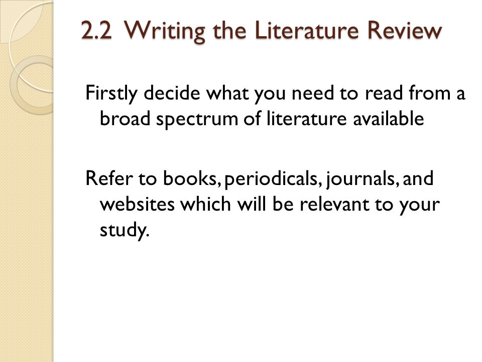 Review related to literature
