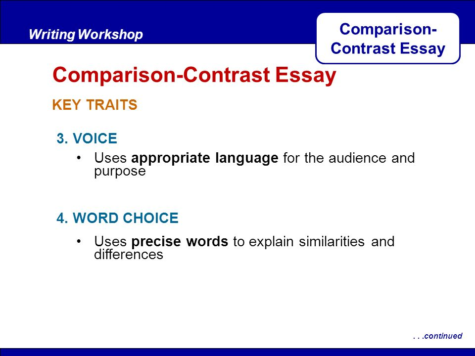 Any ideas for a compare/contrast essay?