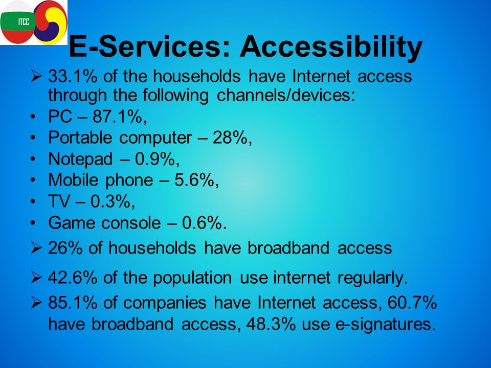 E-Services: Accessibility  33.1% of the households have Internet access through the following channels/devices: PC – 87.1%, Portable computer – 28%, Notepad – 0.9%, Mobile phone – 5.6%, TV – 0.3%, Game console – 0.6%.