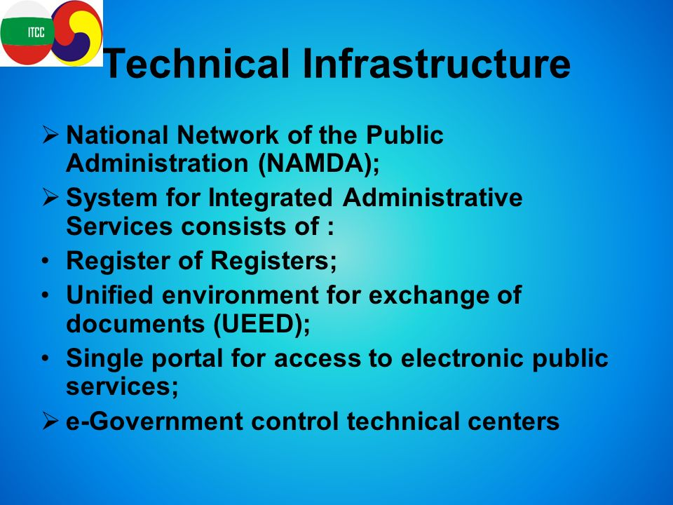 Technical Infrastructure  National Network of the Public Administration (NAMDA);  System for Integrated Administrative Services consists of : Register of Registers; Unified environment for exchange of documents (UEED); Single portal for access to electronic public services;  e-Government control technical centers