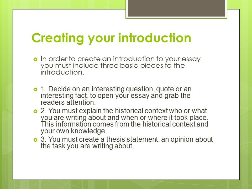 Creating an introduction paragraph