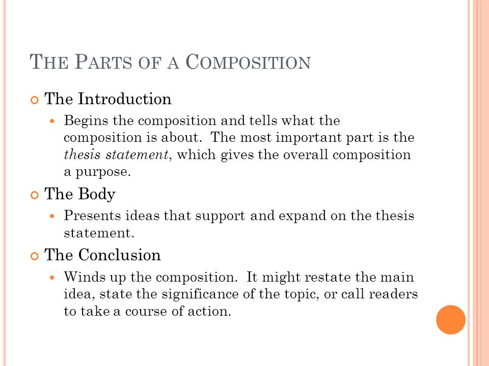 T HE P ARTS OF A C OMPOSITION The Introduction Begins the composition and tells what the composition is about.