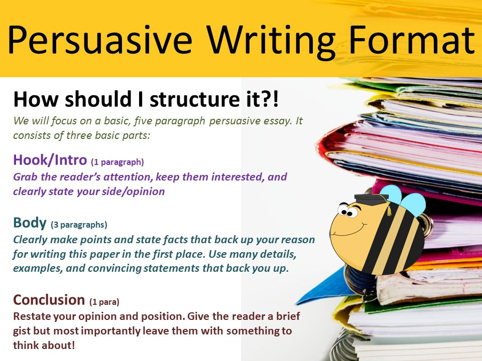The most common structure of a persuasive essay is?